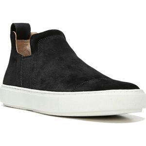 Vince Men's Slip-On Sneaker, Suede, Black, 7.5